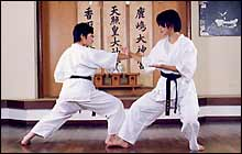 Shuto-uke (sword-handed block) to  block a contact from outside