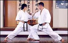 Chudan ude-uke (middle-level forearm block)  to block a contact from inside